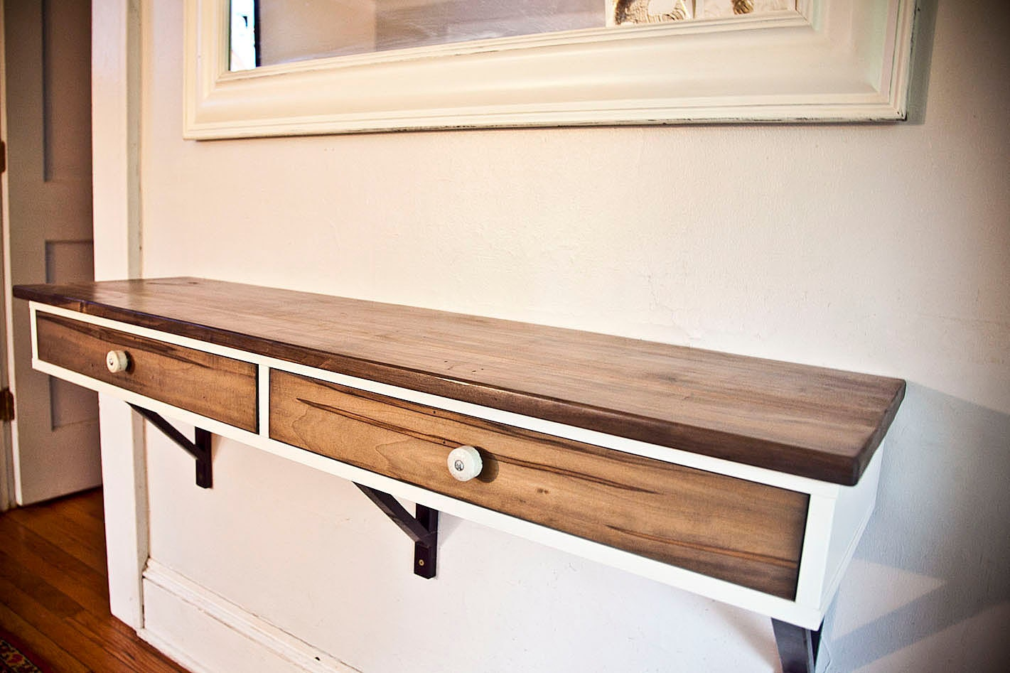 Custom Order - Floating Entry Table - Modified IKEA shelf with two drawers - Ambrosia Maple, porcelain insulator pulls
