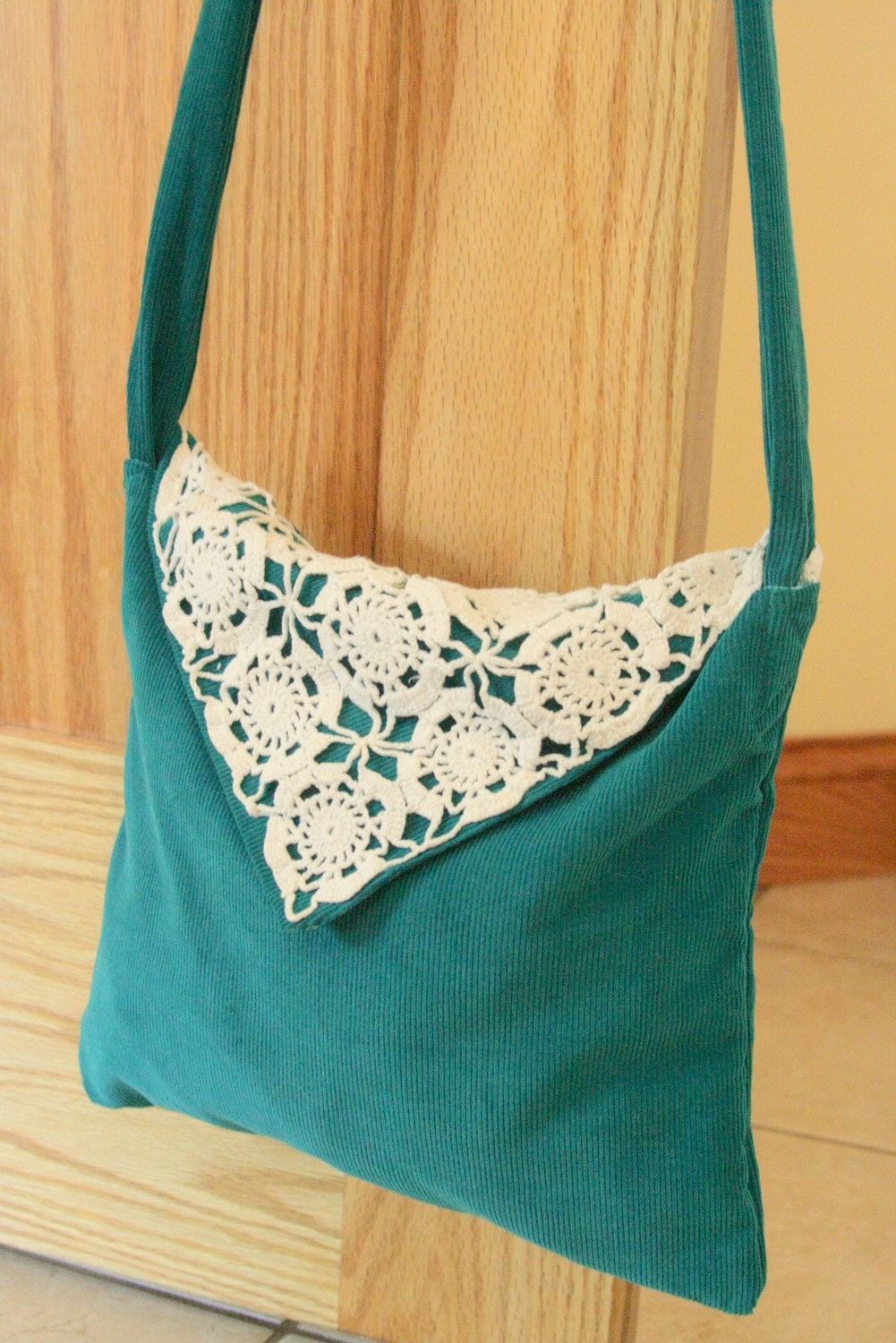 Eco Friendly Handmade Messenger Bag Corduroy Teal Green Reclaimed Vintage Crocheted Doily