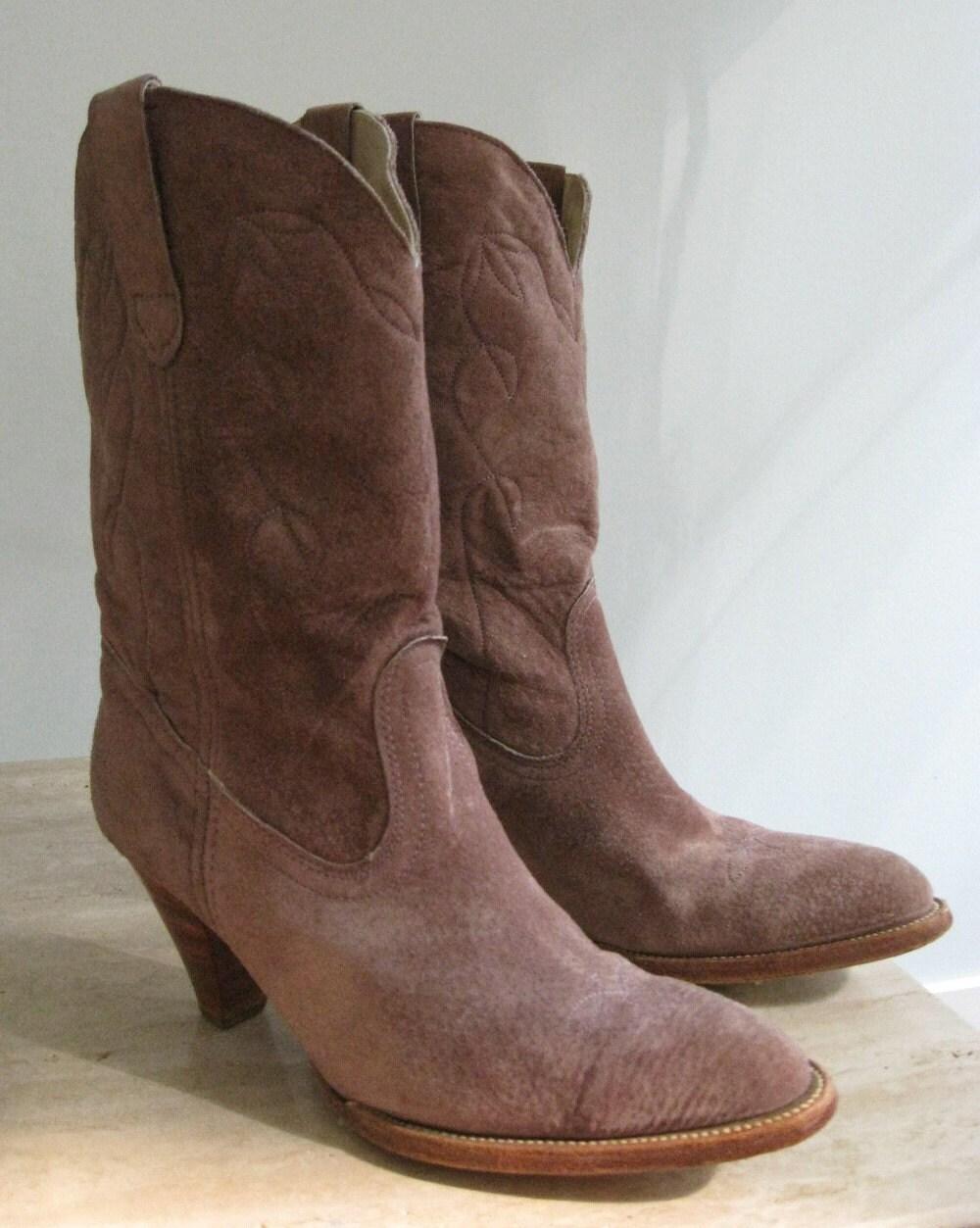 suede vintage frye mauve cowboy boots by