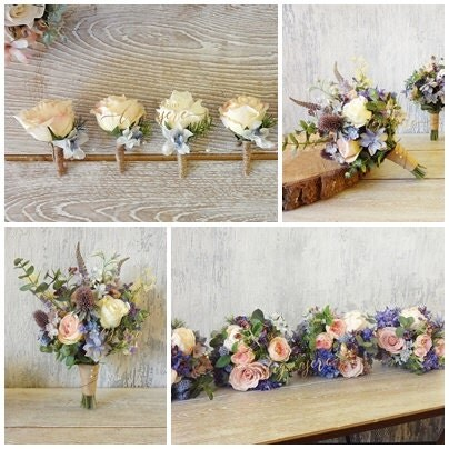 Wildflower wedding package Blue and Pink flowers bridal bouquet bridesmaids bouquets Rustic Woodland