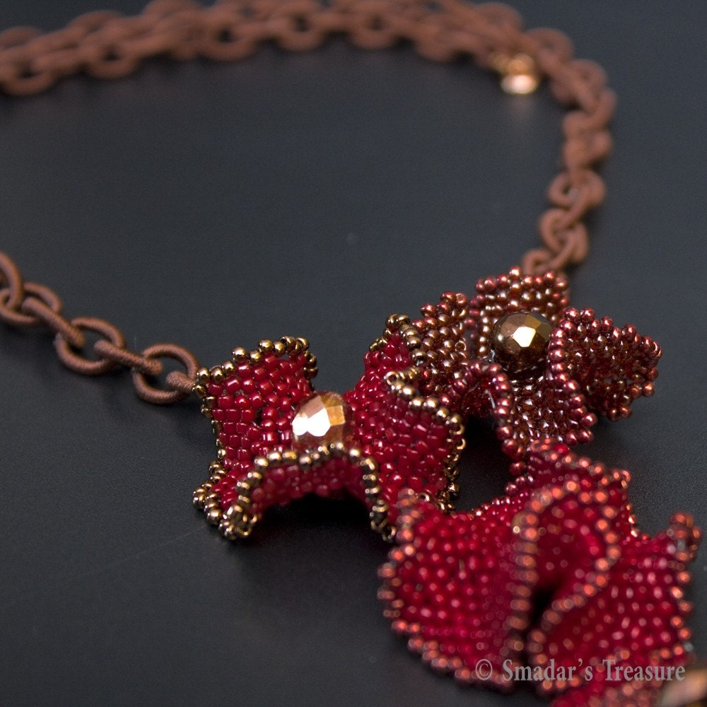 BAO Item of the Week - Flower Necklace in Browns and Red