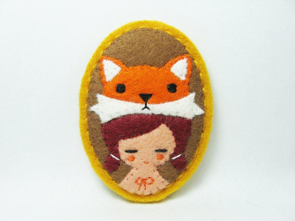 Mr. Fox and girl felt pin