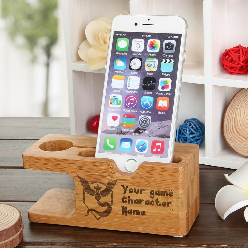 iPhone Dock Apple Watch Docking Station 100 Natural Wood Pokemon Go Team Mystic Pikachu iWatch Holder Galaxy S7 Docking Station