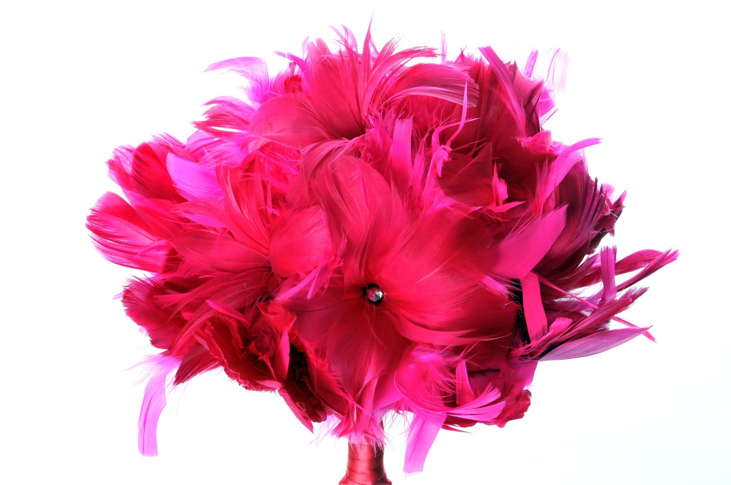 Pink Feather Bouquet, Bridal Bouquet, Feather Wedding Bouquet, Bridesmaid Bouquets, Feather Flowers - DecoraMood