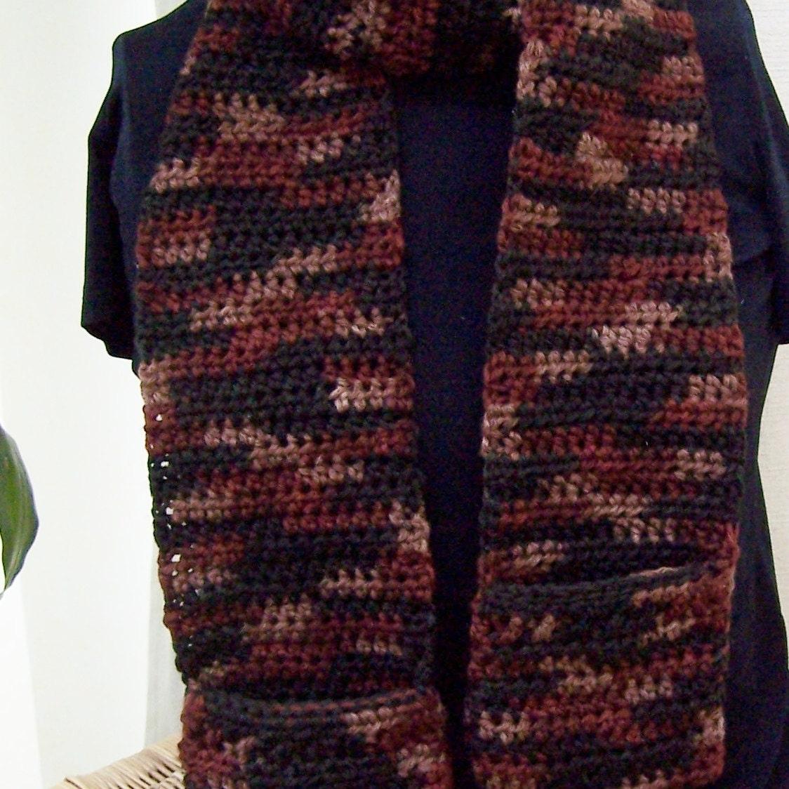 Crocheted Pocket Scarf Earth Tones by JadeRoseBoutique on Etsy