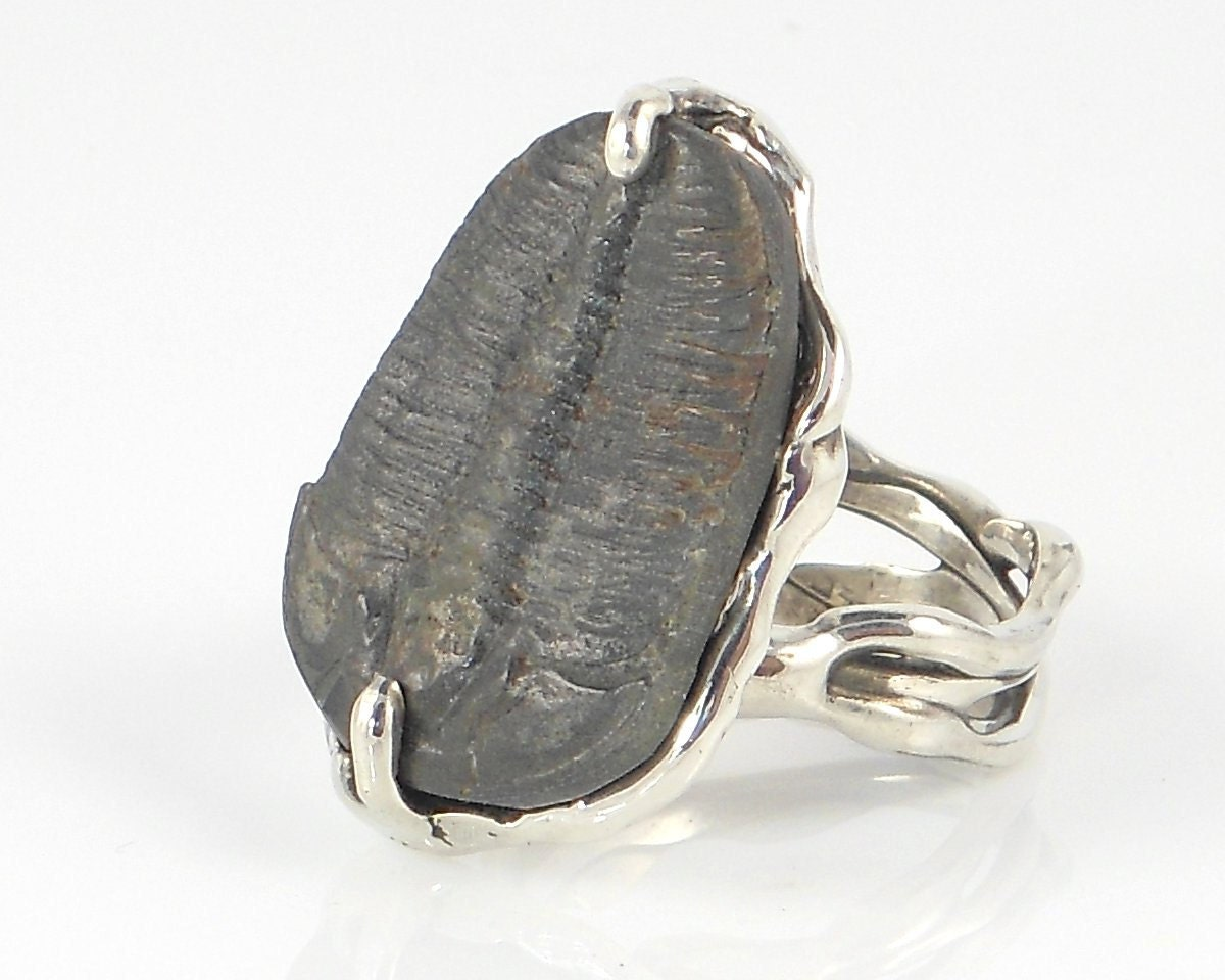 Sterling Silver Ring with Trilobite - Free Domestic Shipping to US - thirdrockjewelry