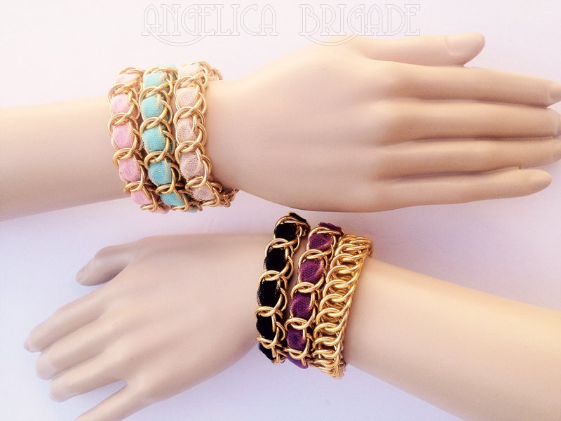 Angelica Brigade AngelicaBrigade Handmade Chunky but Lightweight Stackable Chainmaille Chain Maille and Tulle Bracelets made using BlueBuddhaBoutique Blue Buddha Boutique Premium Quality Anodized Aluminum Jump Rings, Gold, Pink, Aqua Blue, Beige, Black, Violet Tulle, Classic, Bold, Unusual<br />http://www.angelica-brigade.com