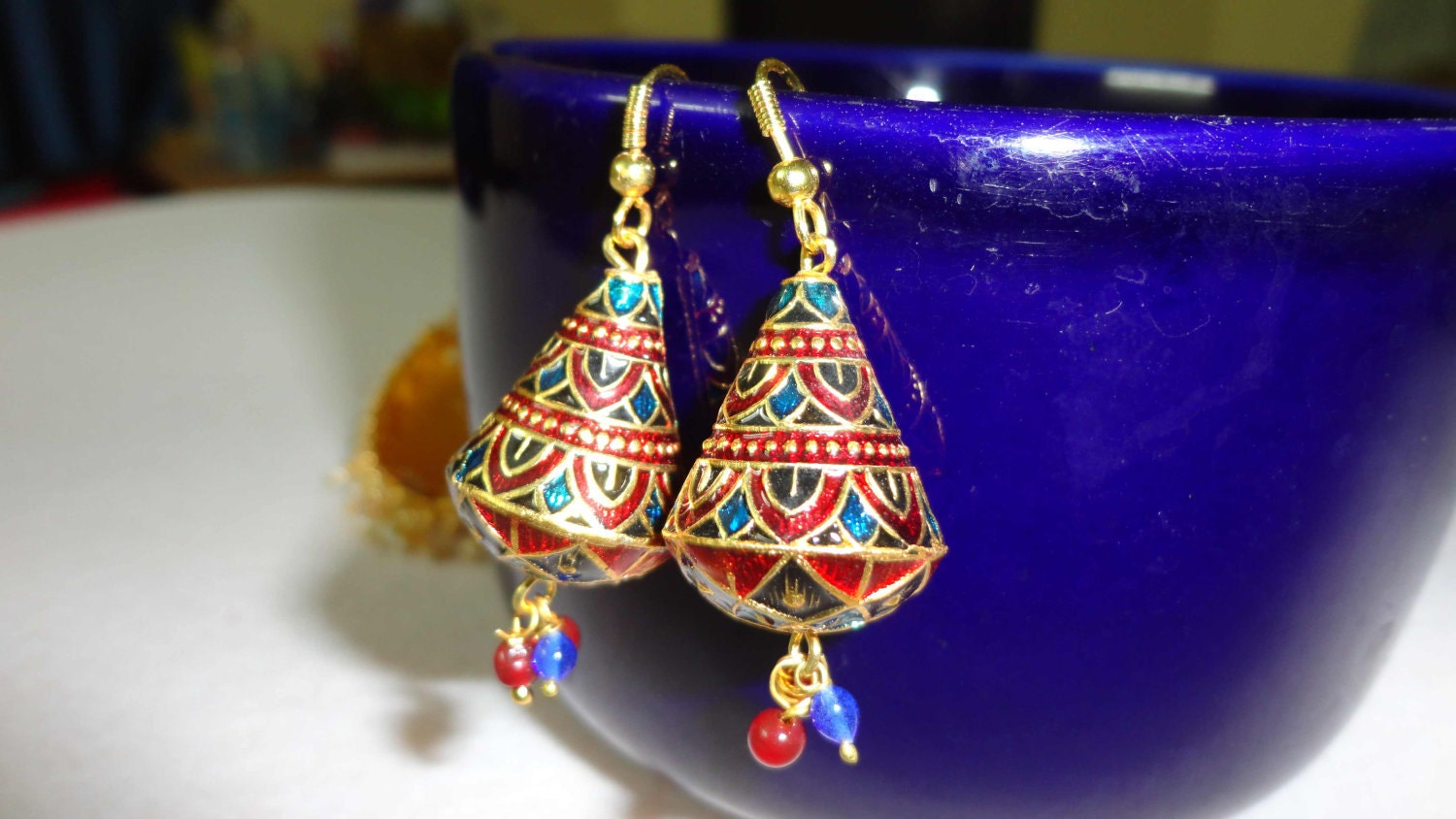 Jhumkas in blue and red Meenakari