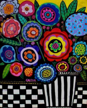 folk art modern flowers art