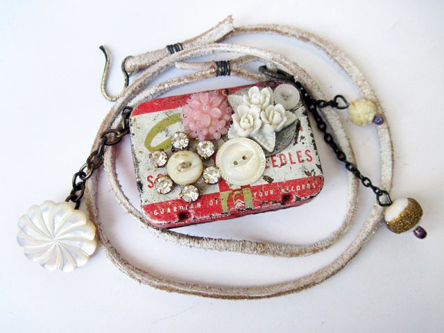 Little Stories. Pillbox tin box locket landscape pendant with rhinestone mop flowers.