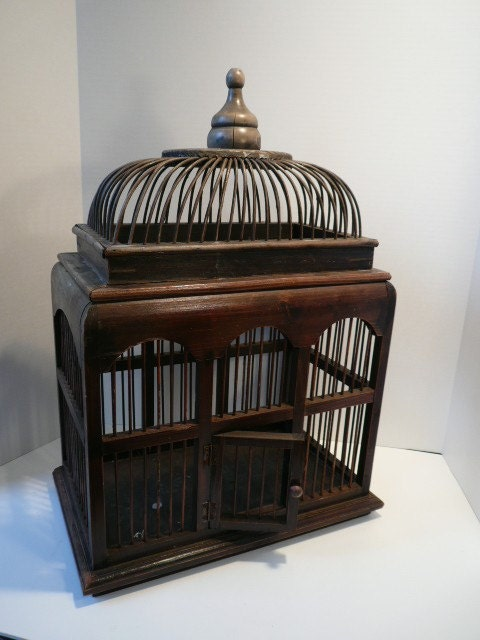Antique Wicker Bird Cage With Removable Top By Pascalene