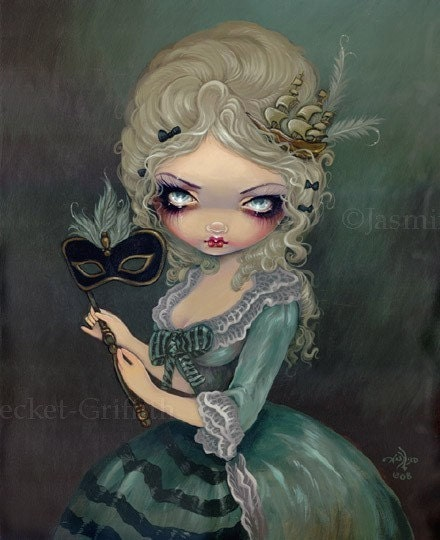 Marie Antoinette Masquerade Rococo fairy gothic big eye lowbrow fantasy art print by Jasmine Becket-Griffith 12x16 BIG