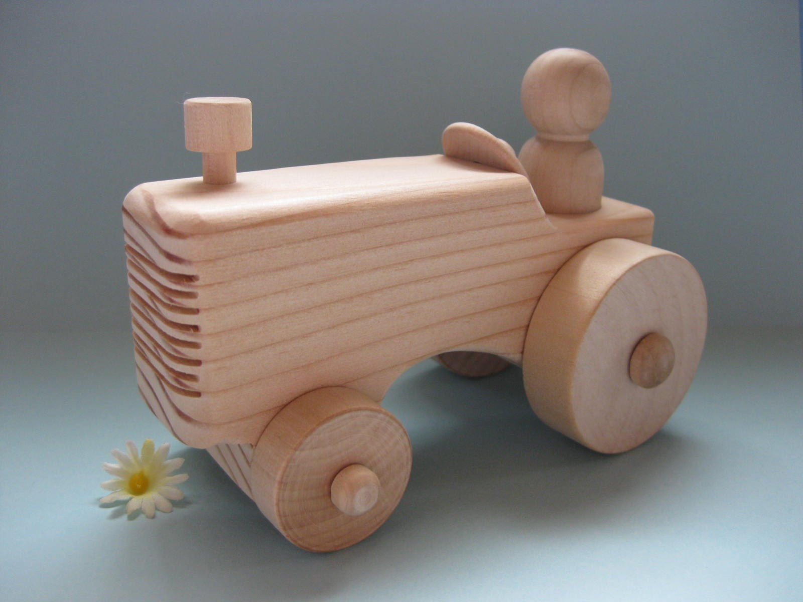 Natural Wood Toy Farm Tractor