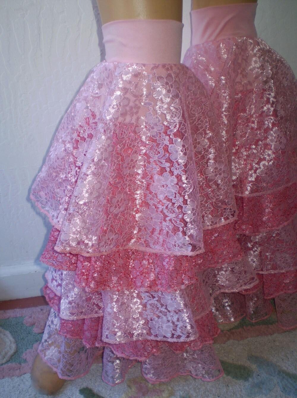 Pretty Pink lace Leg Ruffles One Size