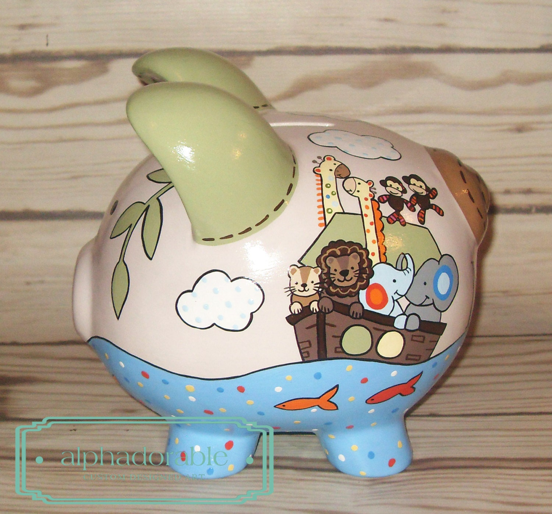 Custom hand painted ceramic personalized piggy bank s s for How to paint a ceramic piggy bank