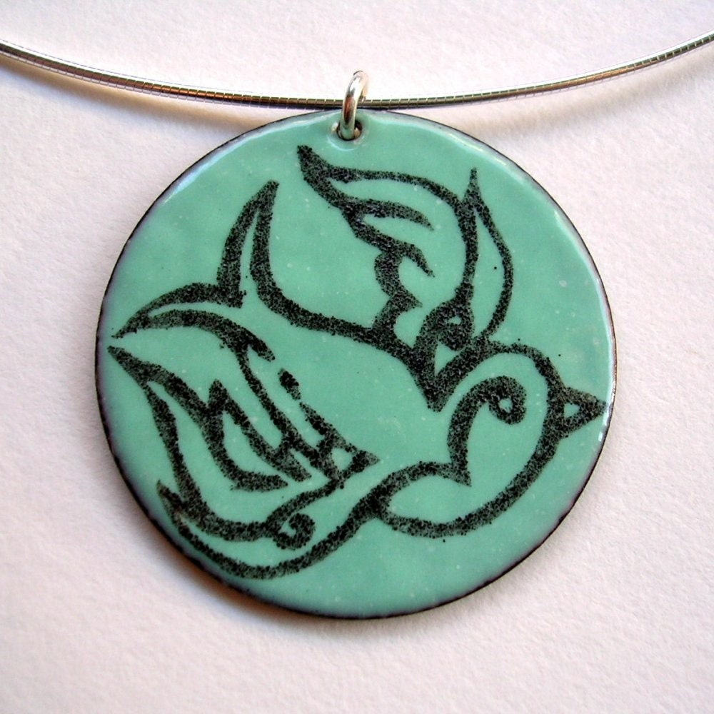 Etsy Tattoo inspired Flying Swallow enamel pendant