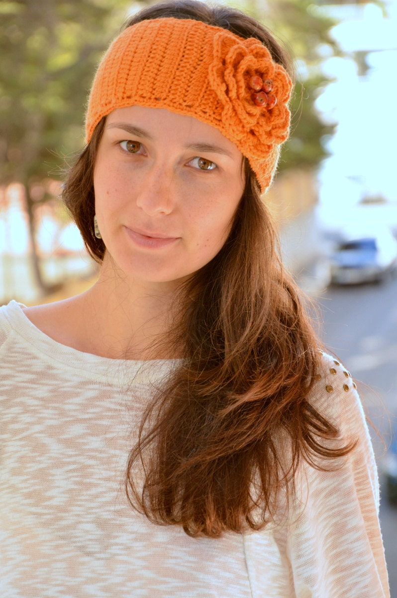Romantic nice headband, orange merino hippie style headband, big crochet flower. - SexyCrochetByOlga