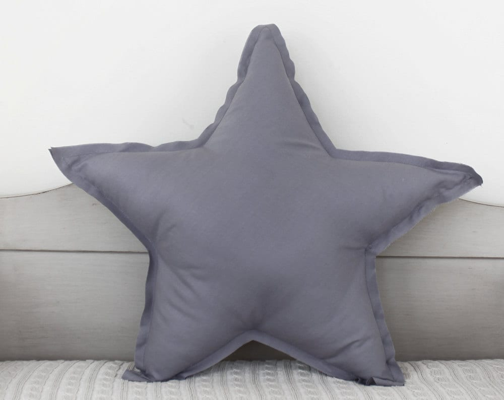 Star shaped Pillow or cushion - french grey, soft cotton - ColetteBream