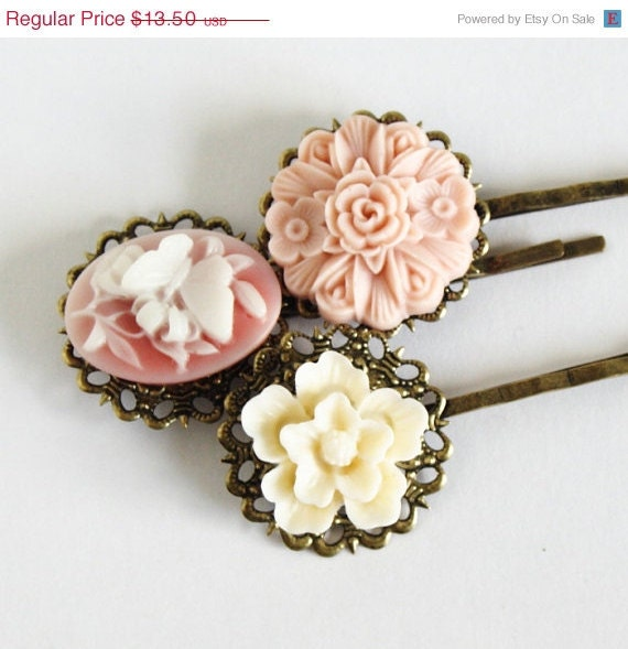HOLIDAY SALE - Pink Bobby Pins Antique Brass With Vintage Style Flowers - Set of Three - Great Stocking Stuffer