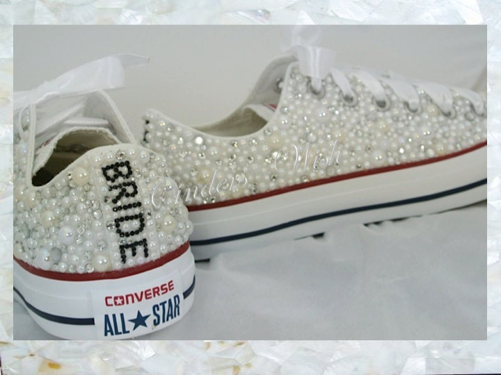 Luxury pearl sparklers  All over converse  Bridal converse  Wedding converse  pearl converse  customised converse prom converse