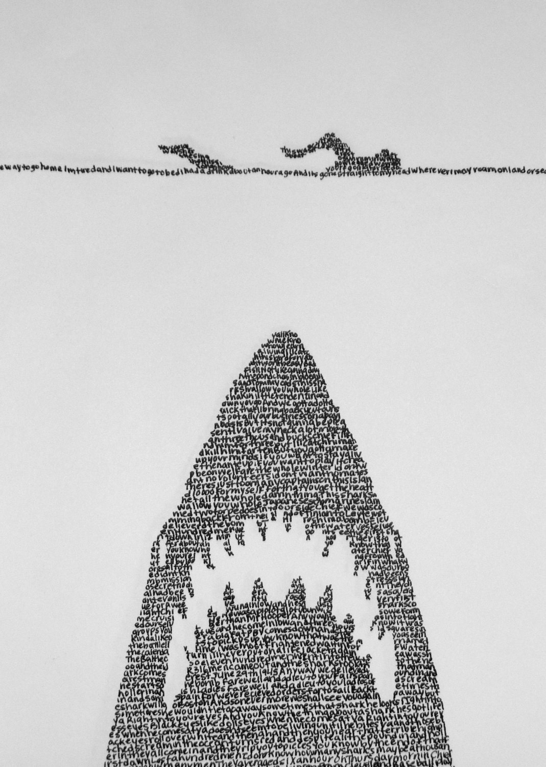 Jaws Poster Made from Movie Lines