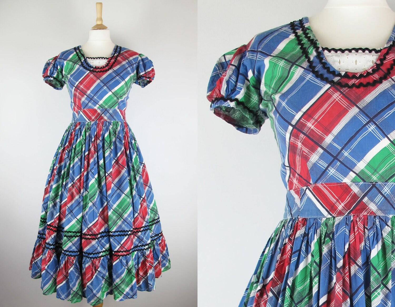 50s Vintage Rainbow Plaid Checked Full Pleated Tiered Circle Skirt Dress Medium 29 Waist