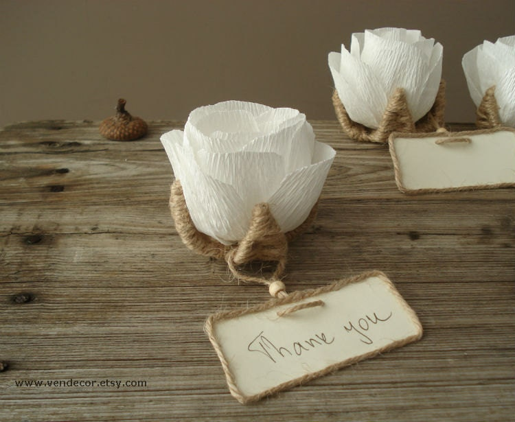 Rustic Wedding Flowers Names : Flower place card favors set of rustic wedding