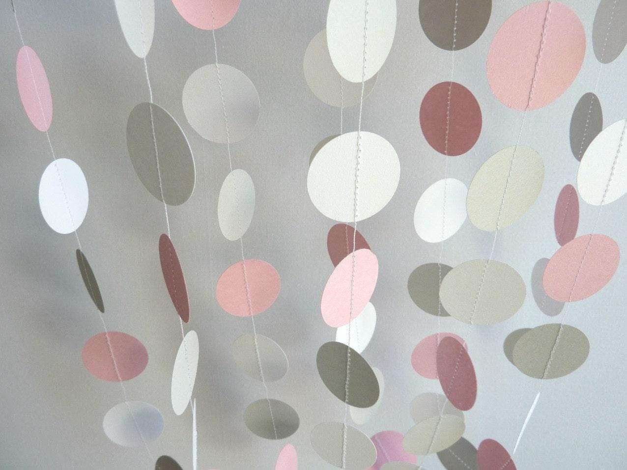 pink gray white circle paper garland by fabulouslyhomemade