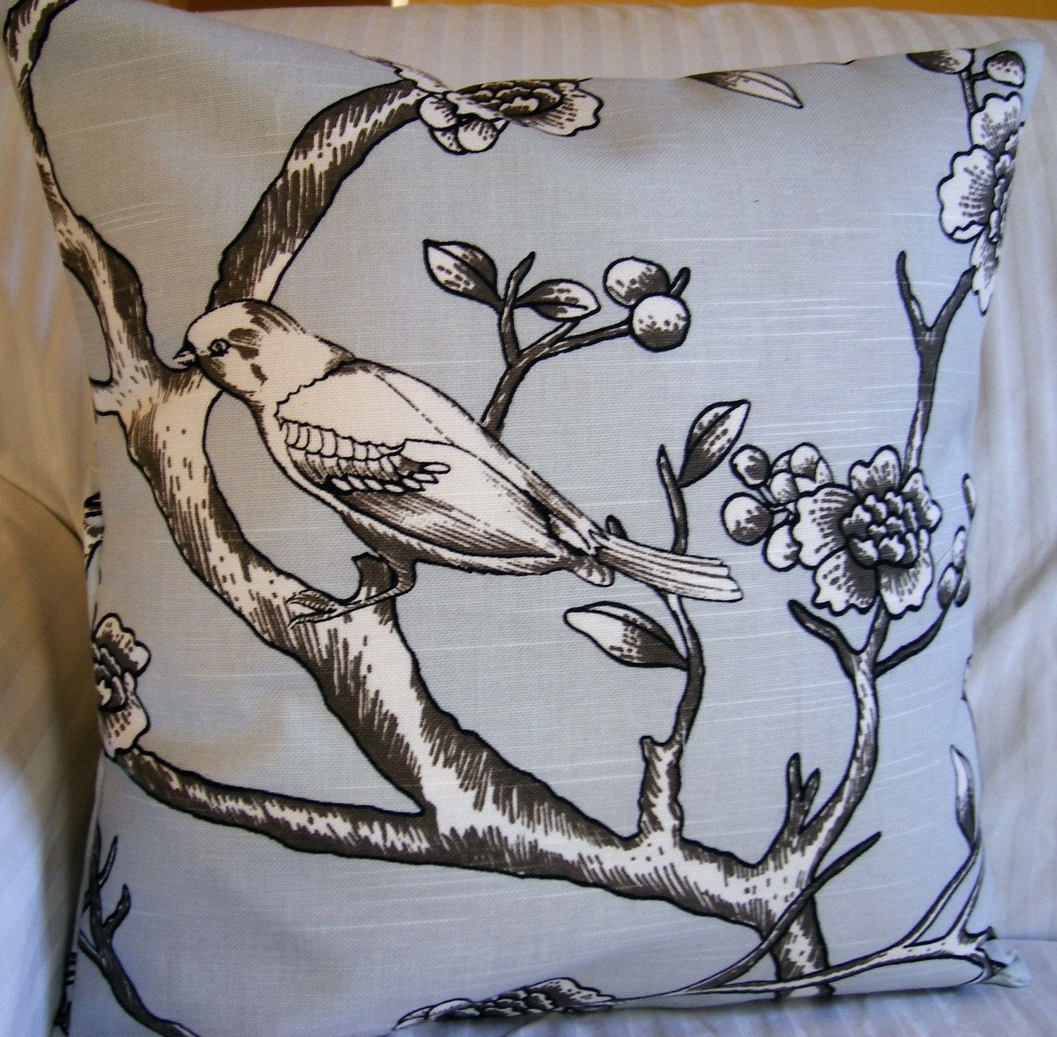 Pillow, Throw pillow cover, cushion cover, outdoor pillow 16x16 handmade with Designer Fabric Sky Blue and Gray Birds and Branches