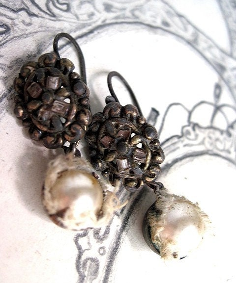The First Asylum. Button Pearl and Linen Earrings.