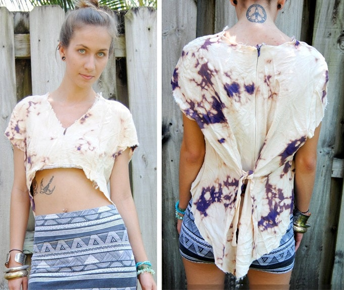 Torn, tattered, and bleached revamped vintage high low top XS/S/M