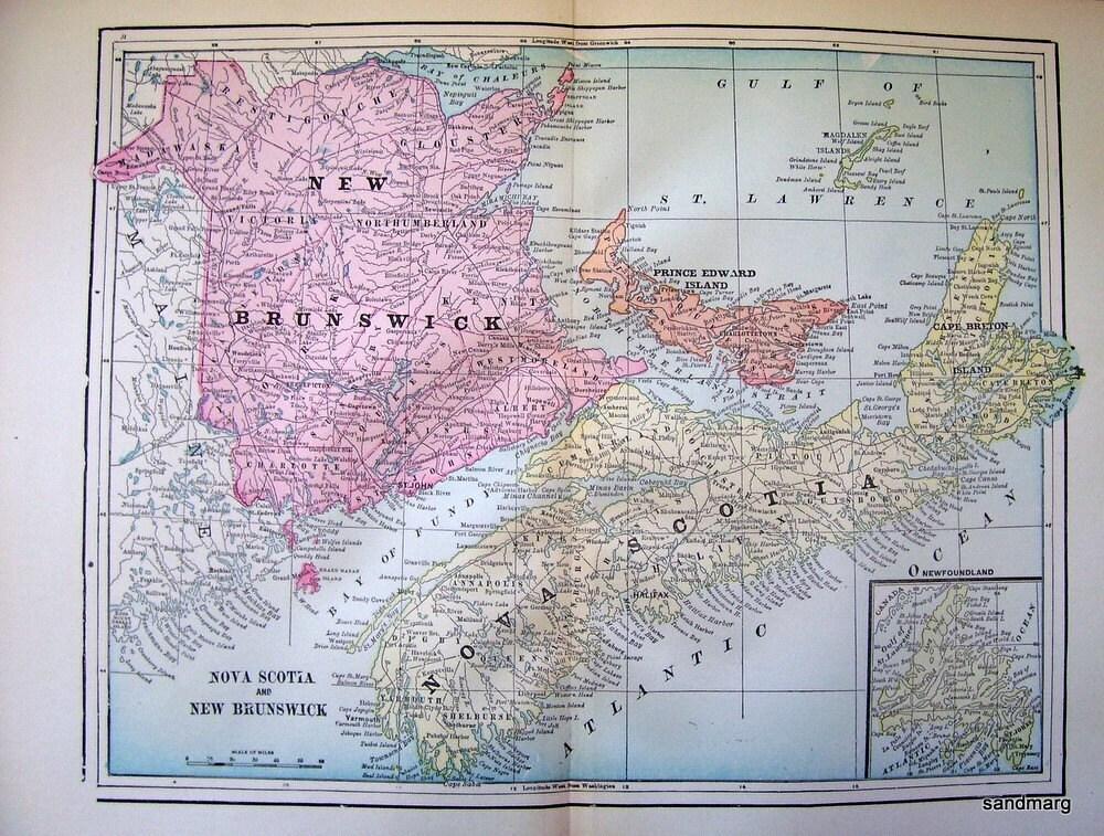 old map of nova scotia. 1897 Antique Color Map of New Brunswick Nova Scotia Prince Edward Island and