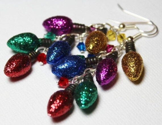 Handmade Beaded Jewelry Earrings Christmas Holiday Red Green Blue Purple Yellow Crystal Lightweight Long...Lights
