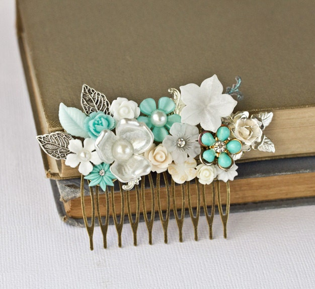 FREE SHIPPING Wedding Hair Comb - Bridal Hair Accessories, Sea Glass Green Beach Wedding, Bridal Hair Accessory, Something Old Vintage Blue - lonkoosh