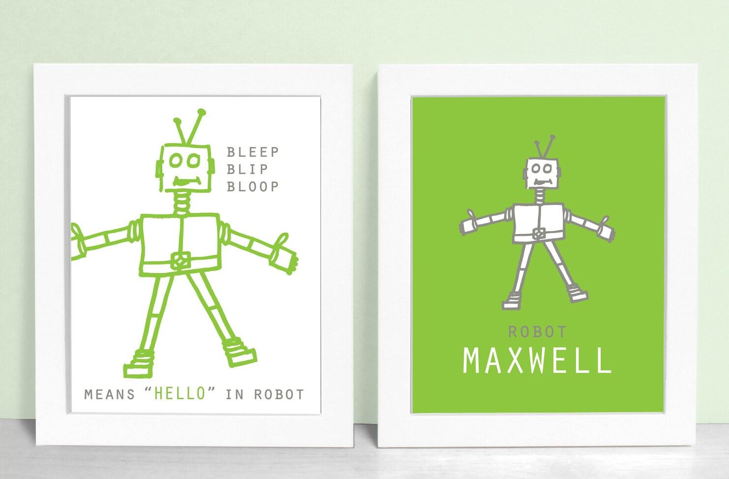 Robot prints set robot nursery art baby boy by daphnegraphics for Robot baby room decor