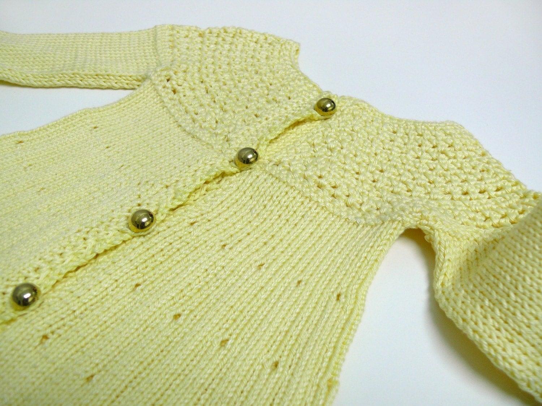 فروش شایان ستایش ژاکت کش باف پشمی زرد روشن -- برای یک دختر نوزاد 0-4 ماه