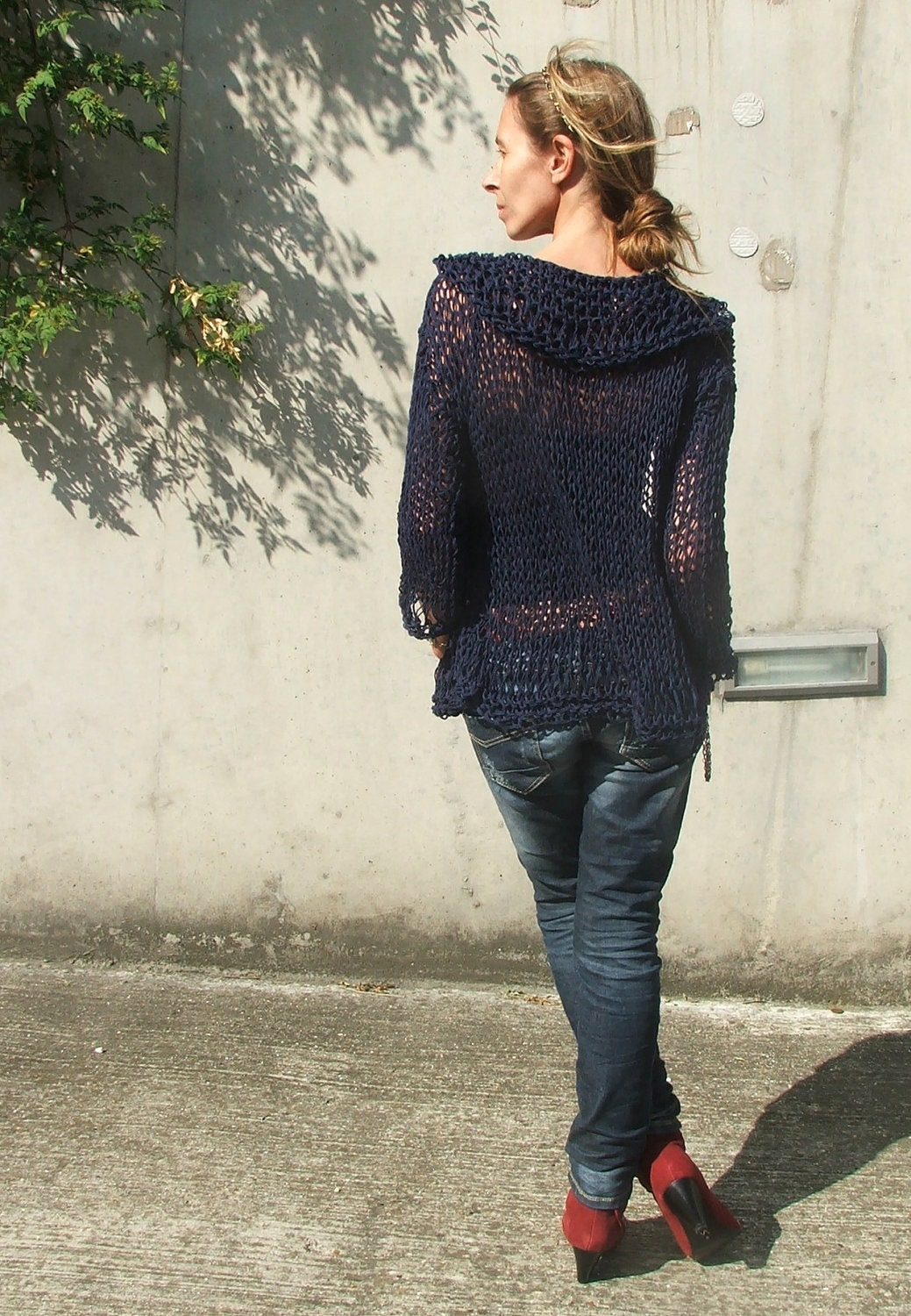 Navy Blue cotton and linen throw on sweater