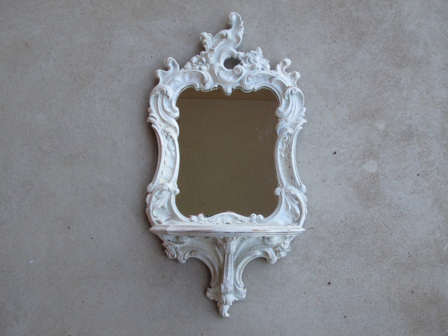 Vintage Shabby Chic Ornate Wall Mirror / Wall Mirror with Shelf Made by Syroco Wood / Distressed, Home Decor, Wedding Decor
