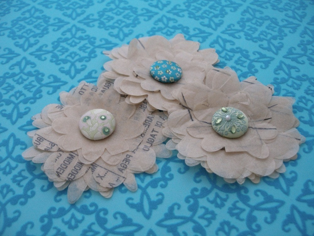 Sewing Pattern Petals -  Teal and Green Flower Embellishments