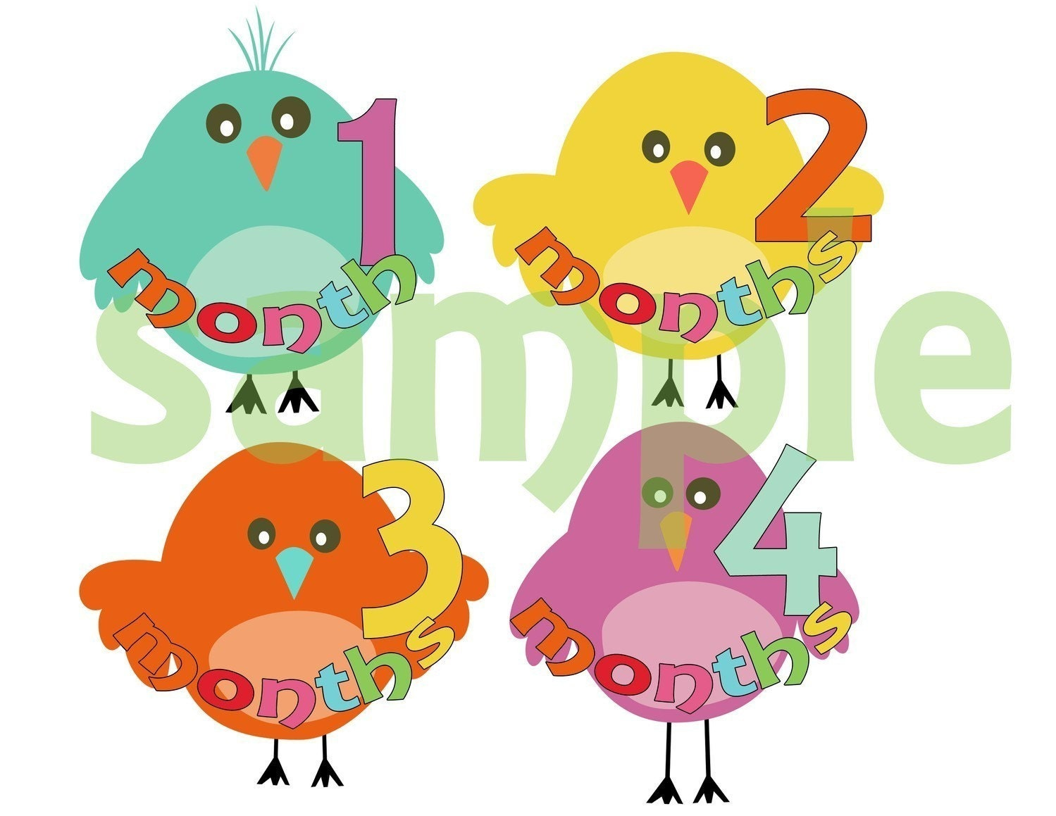 Monthly Onesie Stickers Adorable Baby Birds