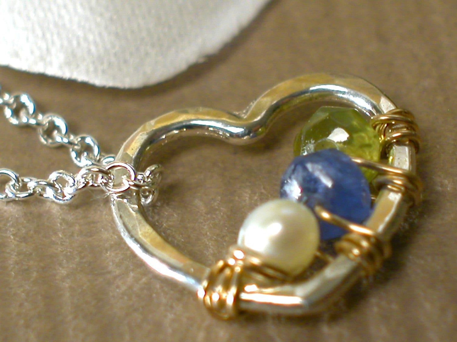 My  Heart...sterling silver 11mm heart pendant with birthstones necklace
