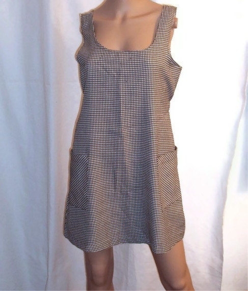 Anxiety Houndstooth Office Tunic Vintage Black & White Mod School Girl Jumper Dress Size Medium