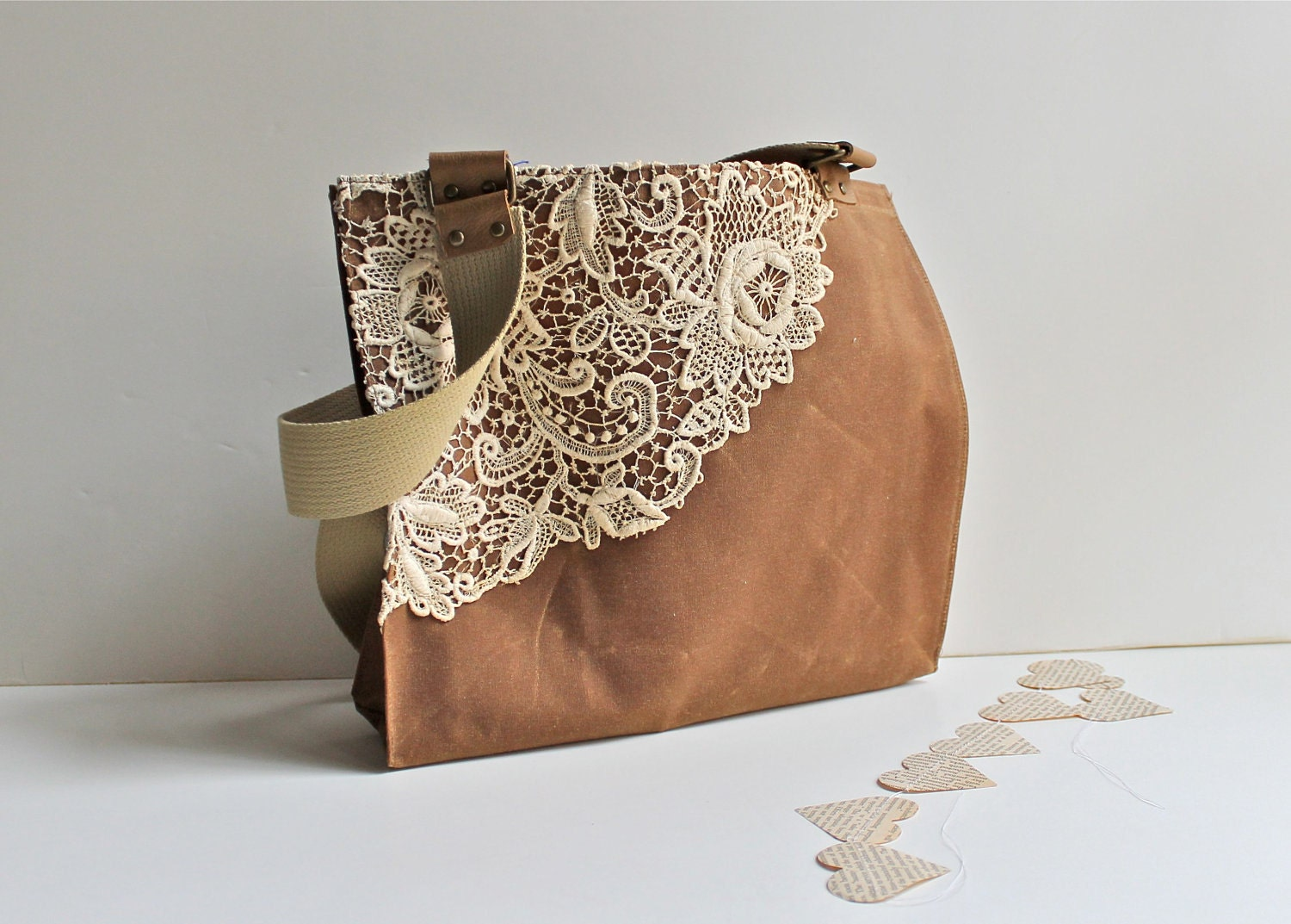 Luxury Waxed Canvas Tote Bag For Women With Vintage Lace By MomoTrees