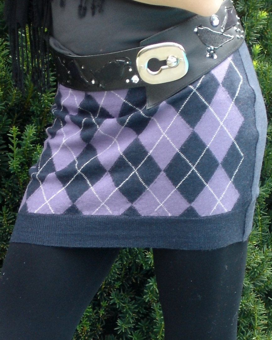 Argyle skirt / bum warmer - Teen's or Petite Women's upcycled from a recycled Navy Blue, Purple and White Wool Sweater - SewFreshAgain
