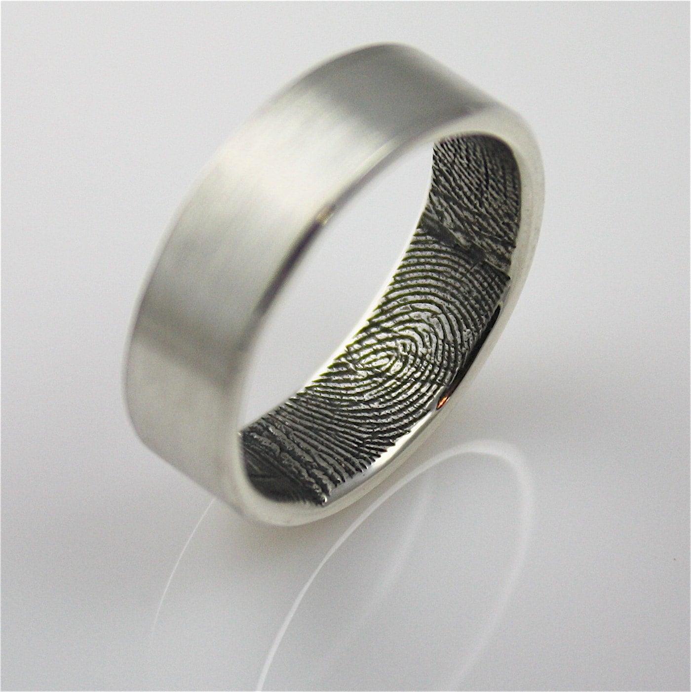 Custom Fingerprint Wedding Band Ring By Fabuluster On Etsy