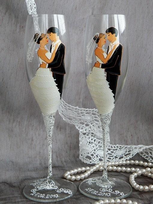 Hand painted personalized wedding glasses flutes ...  Wedding Valse