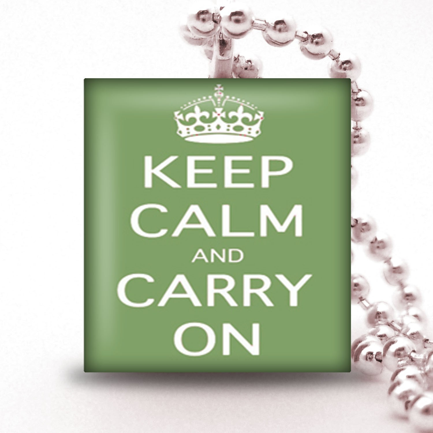Scrabble Tile Pendant   - KEEP CALM AND CARRY ON IN SAGE GREEN - Buy 2 Pendants Get 1 Free