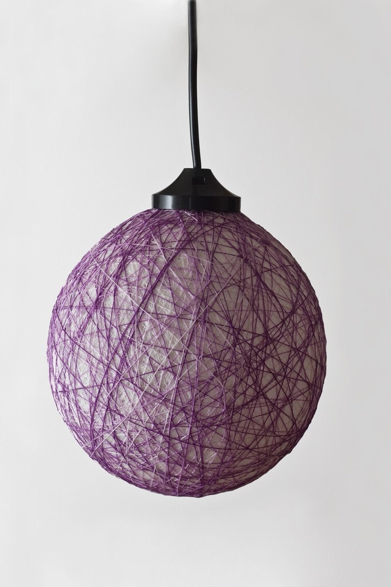 Round mini ceiling lamp White and Purple by FiligreeCreations from etsy.com