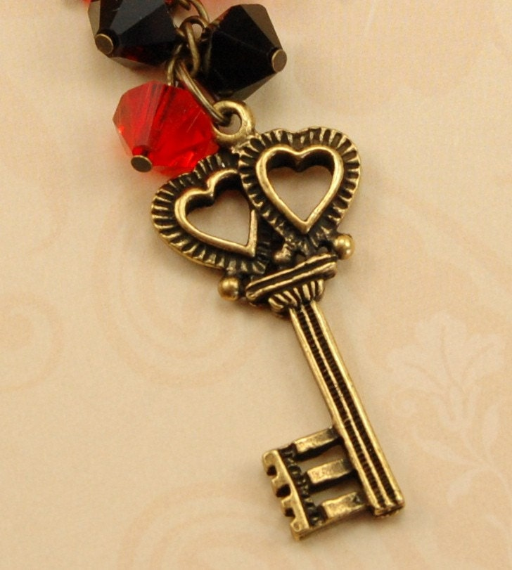 Red and Antique Gold Key of Hearts Chain Necklace - gift idea