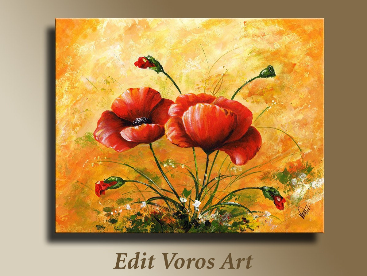Original acrylic painting of red poppies  Framed  Wall hangings - EditVorosArt